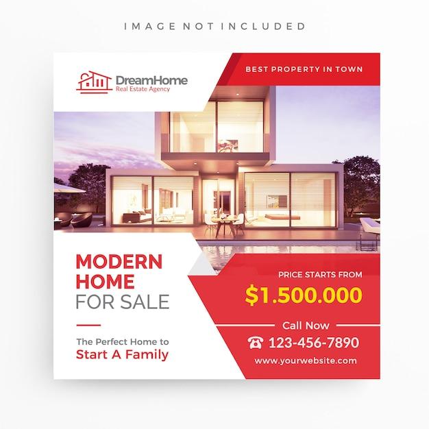 Casa para venda / modelo de banner imobiliário para promoção Vetor Premium