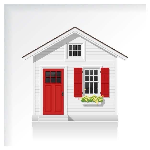 Casa pequena isolada no fundo branco Vetor Premium