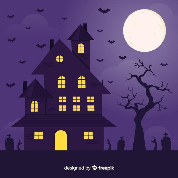 Casa plana de halloween com lua cheia Vetor grátis