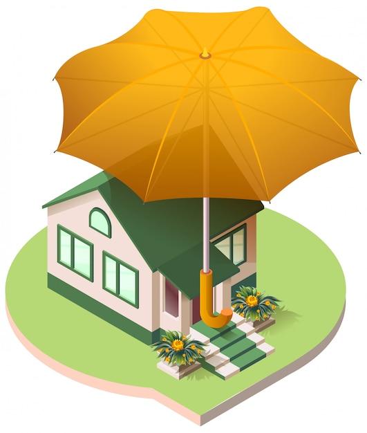 Casa privada sob um guarda-chuva seguro imobiliário Vetor Premium