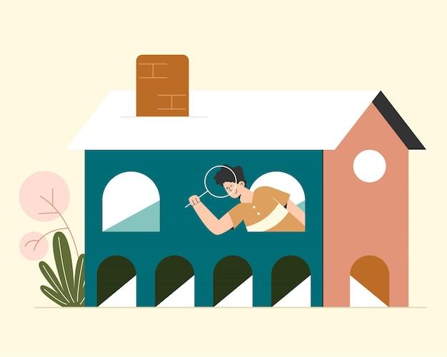 Casa procurando pessoas Vetor Premium