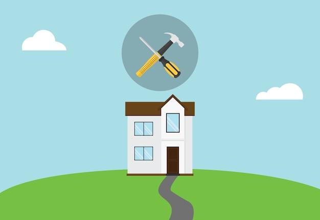 Casa, reparar, manutenção, símbolo, ícone, com, martelo, e, chave fenda, cima Vetor Premium