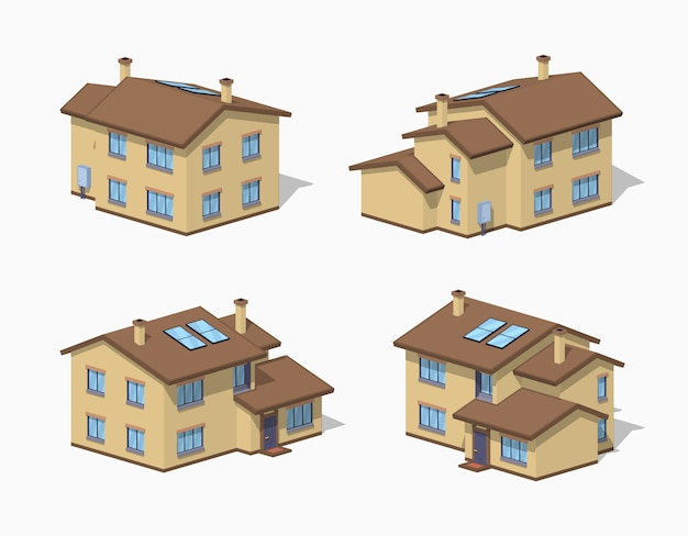 Casa suburbana baixa poli Vetor Premium