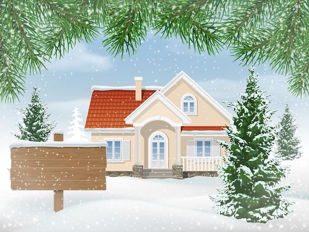 Casa suburbana na neve. abetos no jardim da frente. sinal de madeira à venda. Vetor Premium