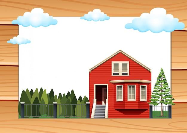 Casa vermelha na moldura da parede de madeira Vetor grátis