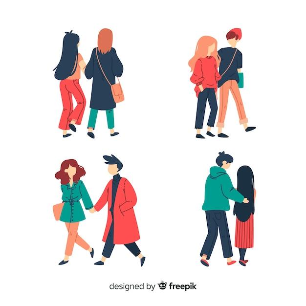 Casais caminhando juntos em roupas de inverno Vetor grátis