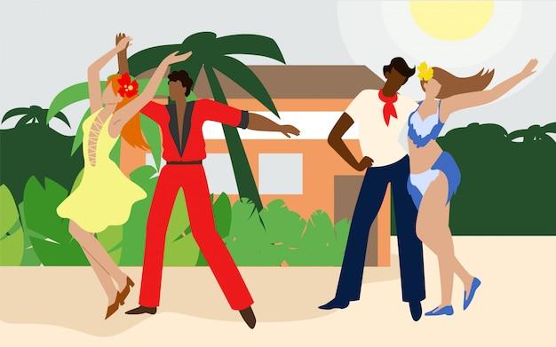 Casais dançando na praia em palmeiras de fundo. Vetor Premium