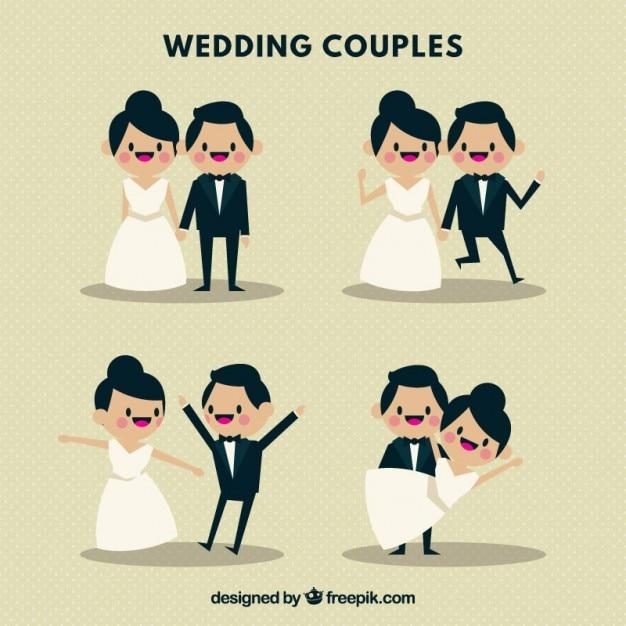 Casais de casamento agradável e jovens Vetor Premium