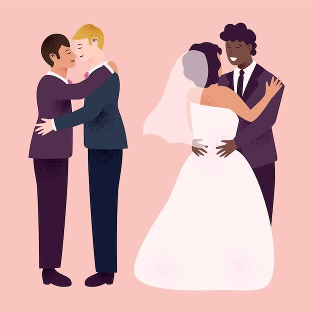 Casais de casamento lindo Vetor grátis