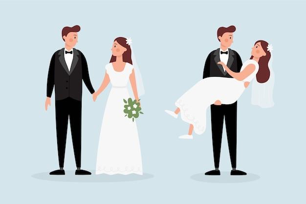 Casais de casamento mão desenhada com buquê Vetor grátis