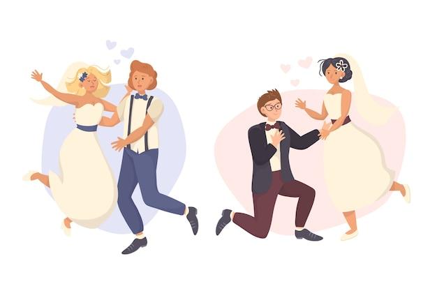 Casais de casamento mão desenhada em roupas modernas e corações Vetor grátis