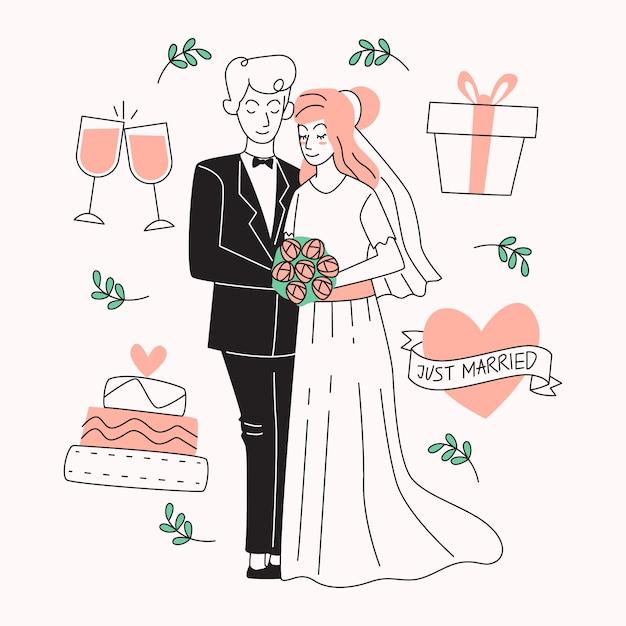 Casais de casamento mão desenhada Vetor Premium