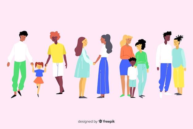 Casais e famílias do dia do orgulho Vetor grátis