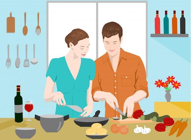 Casais estão cozinhando juntos na cozinha Vetor Premium