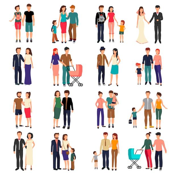 Casais heterossexuais e famílias com crianças planas conjunto isolado no fundo branco vector ilustr Vetor grátis