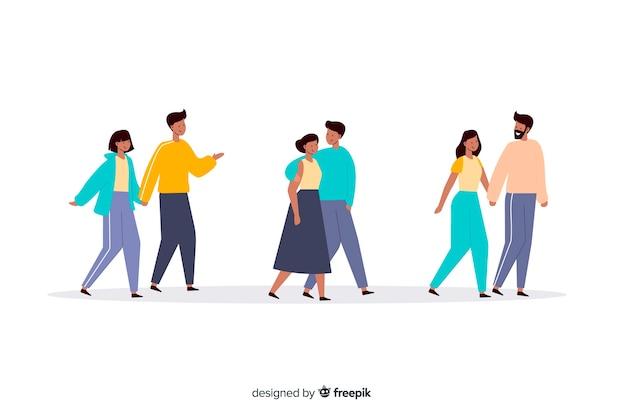 Casais jovens caminhando juntos ilustração Vetor grátis