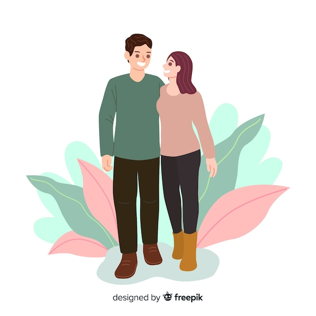 Casais jovens caminhando juntos Vetor grátis