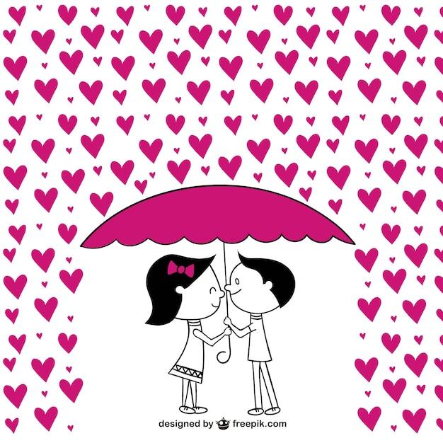 Casais românticos com corações Vetor grátis