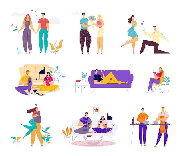 Casal amoroso feliz passa algum tempo juntos no conjunto de fim de semana. Vetor Premium