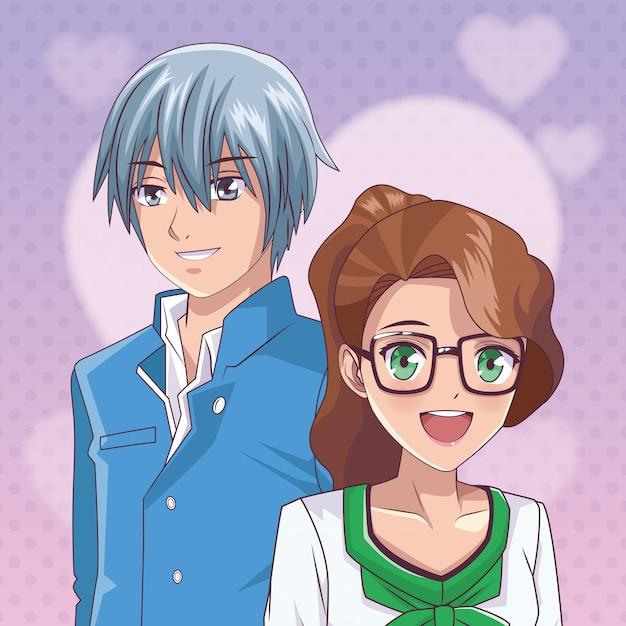 Casal anime mangá Vetor Premium
