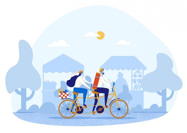 Casal apaixonado, andar de bicicleta tandem, fazer piquenique Vetor Premium