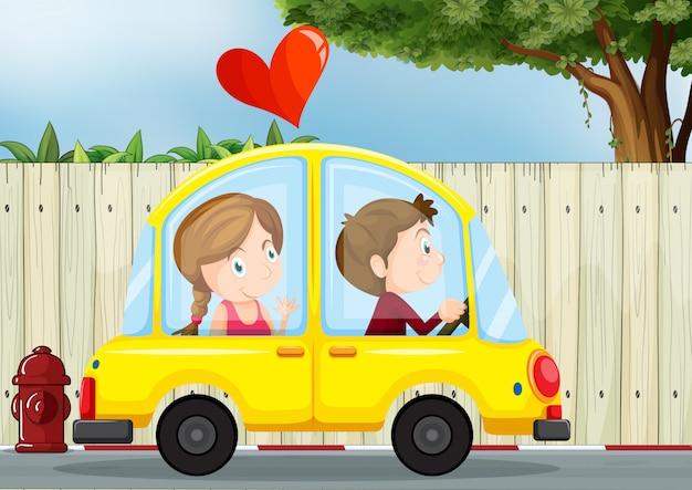 Casal apaixonado dentro do carro amarelo Vetor grátis