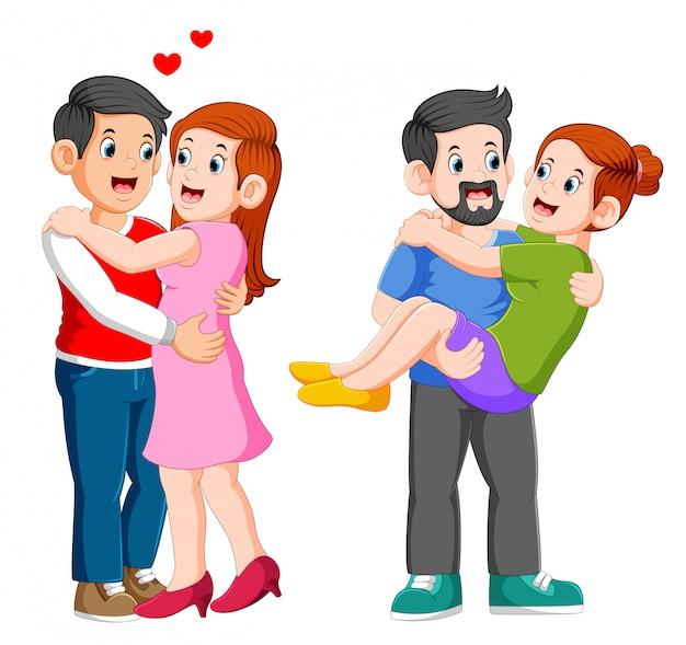Casal apaixonado. homem mulher, abraçando carinhosamente Vetor Premium