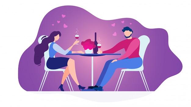 Casal apaixonado, jantar no restaurante vector plana Vetor Premium