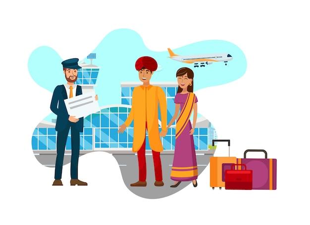 Casal asiático, chegando no aeroporto ilustração plana Vetor Premium