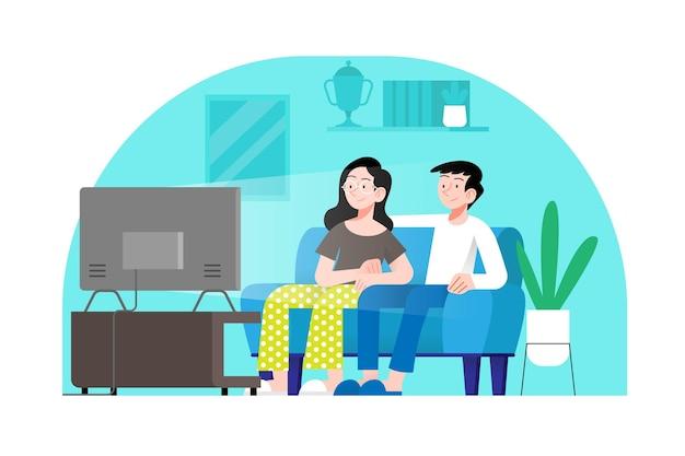 Casal assistindo um filme na sala de estar Vetor Premium