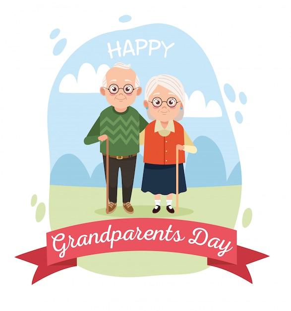 Casal bonito avós felizes no acampamento Vetor Premium