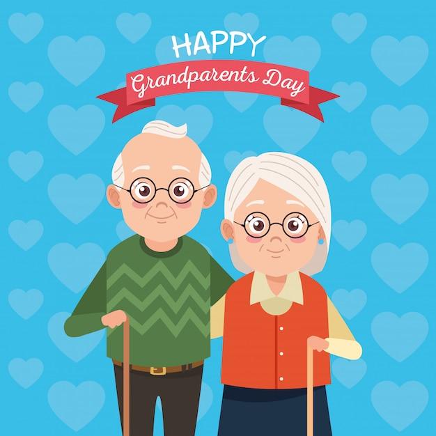 Casal bonito avós felizes para o dia dos avós feliz Vetor Premium