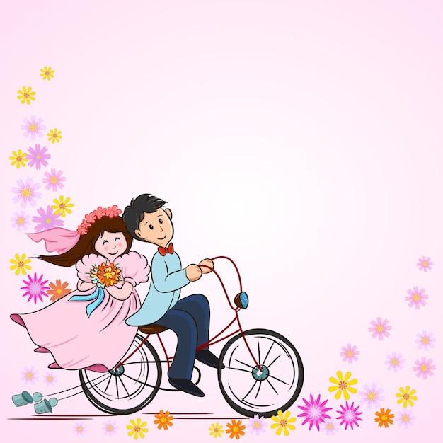 Casal bonito dos desenhos animados na bicicleta para cartão de casamento. Vetor Premium