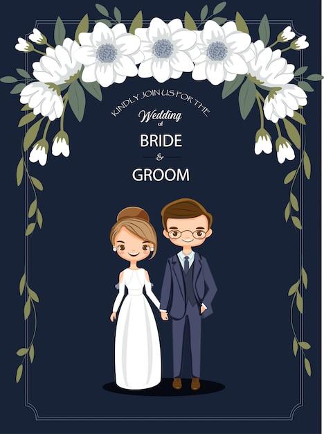 Casal bonito dos desenhos animados para cartão de convites de casamento Vetor Premium