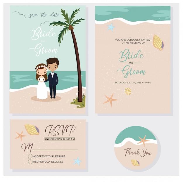 Casal bonito no conjunto de tema de convites de casamento de praia Vetor Premium