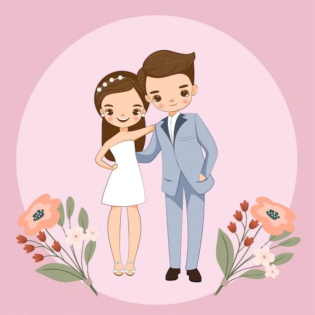Casal bonito para cartão de convites de casamento Vetor Premium