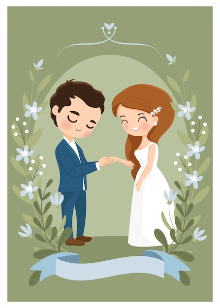 Casal bonito usar uma aliança no cartão de convite de casamento Vetor Premium
