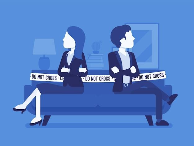 Casal briga cena em casa. disputa entre amantes, homem, mulher sentada um contra o outro no sofá com não cruze a fita, desacordo, rompa relações. ilustração com personagens sem rosto Vetor Premium