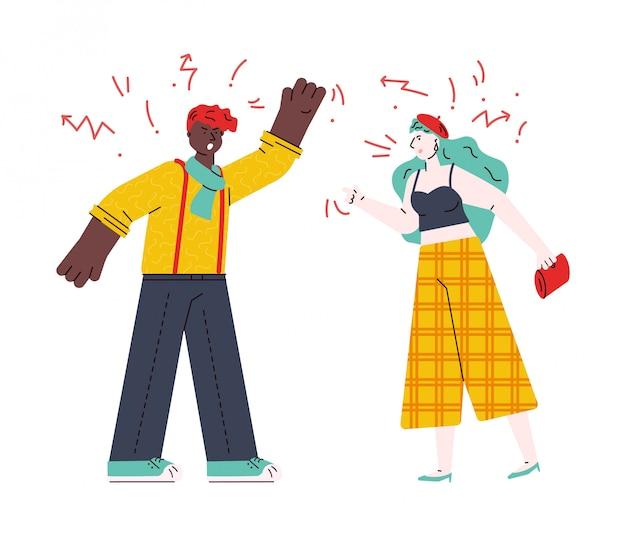 Casal brigando e xingando, desenho ilustração isolado. Vetor Premium