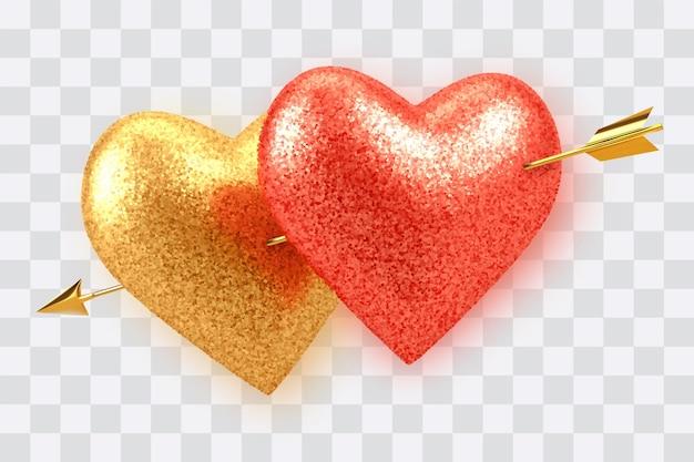 Casal brilhando em balões realistas em forma de coração vermelho e dourado com textura glitter perfurada por cupidos flecha dourada isolada em transparente Vetor Premium
