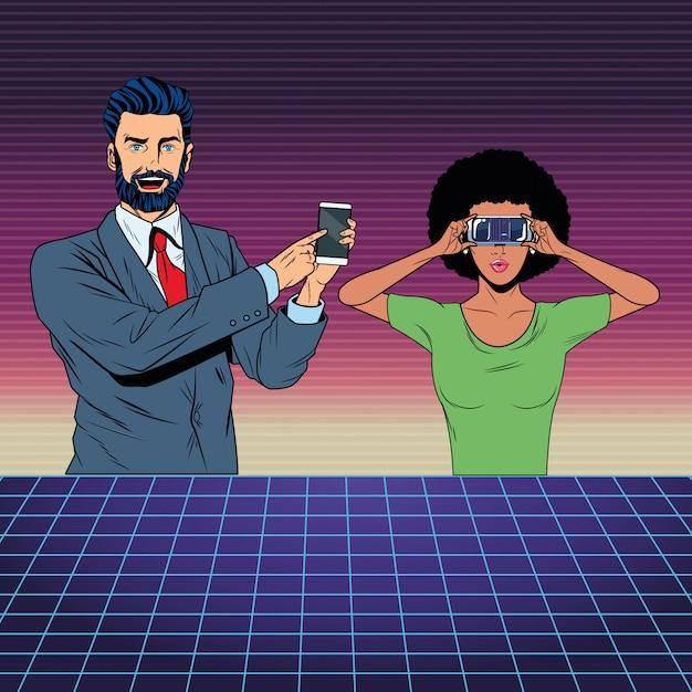 Casal com fone de realidade virtual Vetor Premium