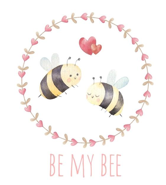 Casal de abelhas apaixonadas, lindo cartão de dia dos namorados, aquarela Vetor Premium