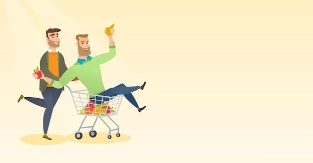 Casal de amigos, andar no carrinho de compras. Vetor Premium