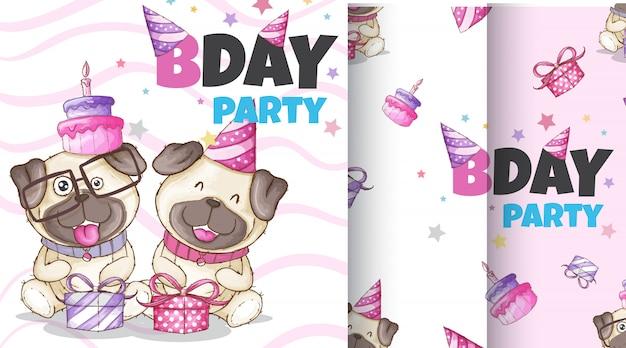 Casal de cão animal bonito mão ilustrações desenhadas Vetor Premium