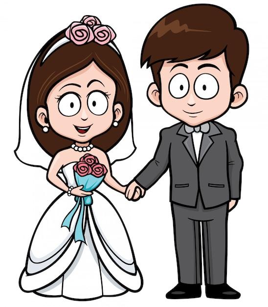 Casal de casamento dos desenhos animados Vetor Premium