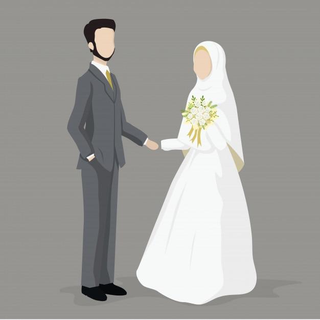 Casal de casamento muçulmano, noiva e noivo Vetor Premium
