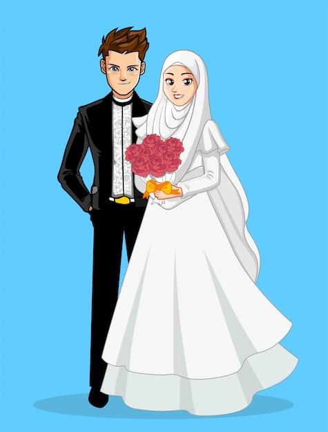 Casal de casamento muçulmano Vetor Premium