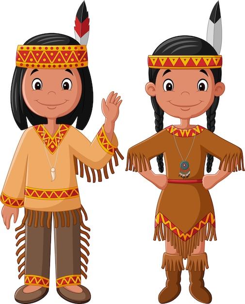 Casal de desenhos animados nativo americano indiano Vetor Premium