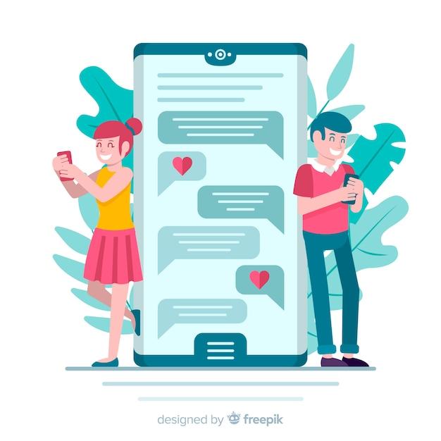 Casal de design plano conversando sobre namoro app Vetor grátis