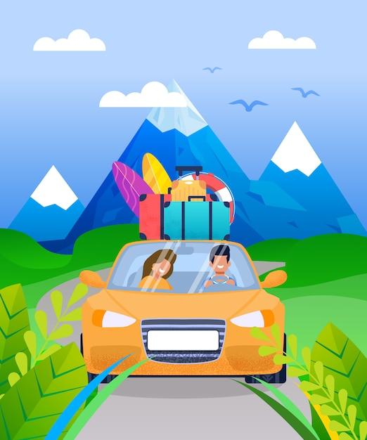 Casal de família em desenhos animados de viagem de carro de férias Vetor Premium